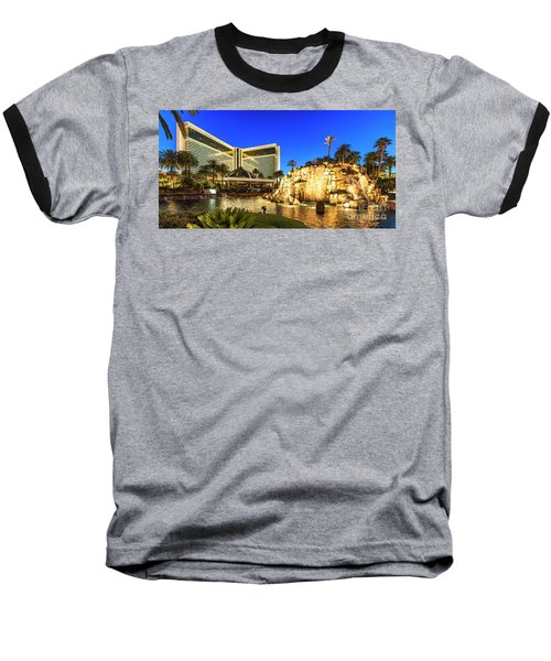 The Mirage Casino And Volcano At Dusk Baseball T-Shirt by Aloha Art