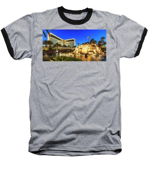 The Mirage Casino And Volcano At Dusk Baseball T-Shirt