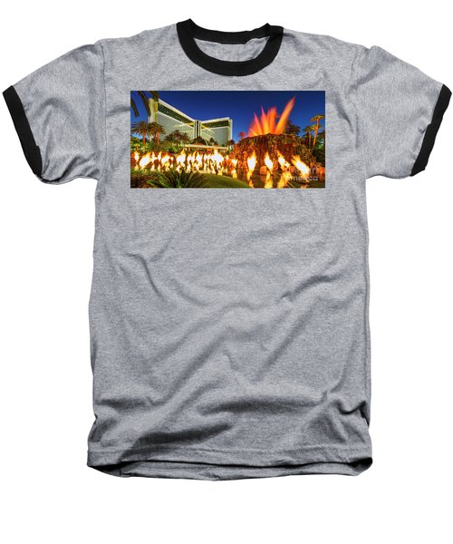 The Mirage Casino And Volcano Eruption At Dusk Baseball T-Shirt by Aloha Art