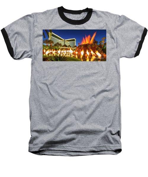 The Mirage Casino And Volcano Eruption At Dusk Baseball T-Shirt