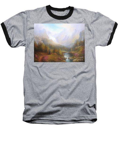The Misty Mountains Baseball T-Shirt by Joe  Gilronan