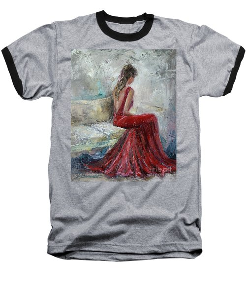 Baseball T-Shirt featuring the painting The Moment by Jennifer Beaudet