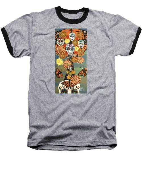 The Monarch's Tree Of Life And The Dead - Day Of The Dead Baseball T-Shirt