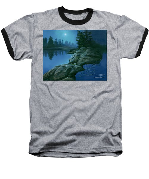 Baseball T-Shirt featuring the painting The Moonlight Hour by Michael Swanson