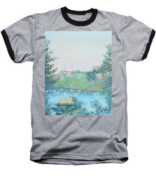 The Mosman Bay Ferry And Sydney Skyline Baseball T-Shirt