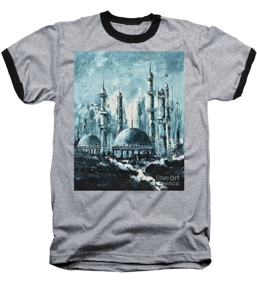 Baseball T-Shirt featuring the painting The Mosque-2 by Nizar MacNojia