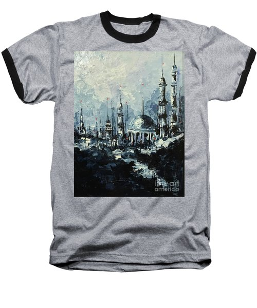Baseball T-Shirt featuring the painting The Mosque by Nizar MacNojia
