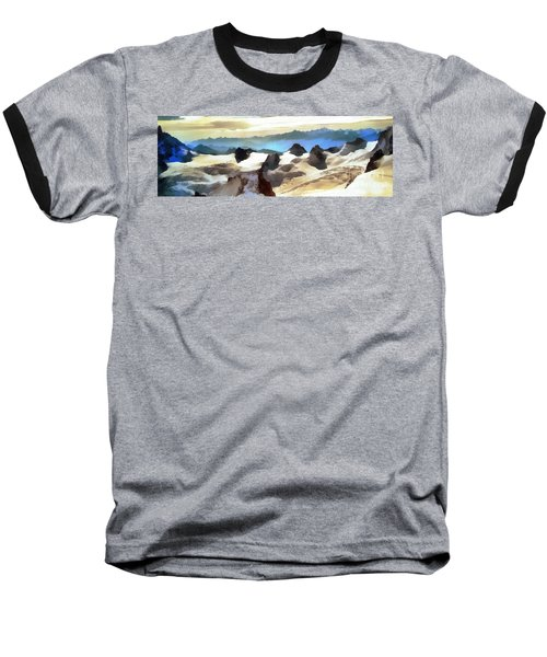 Baseball T-Shirt featuring the painting The Mountain Paint by Odon Czintos