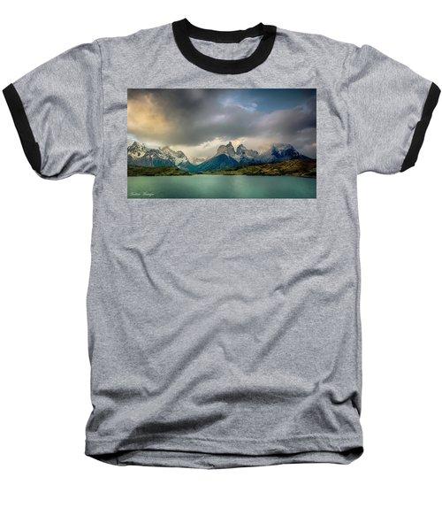 Baseball T-Shirt featuring the photograph The Mountains On The Lake by Andrew Matwijec