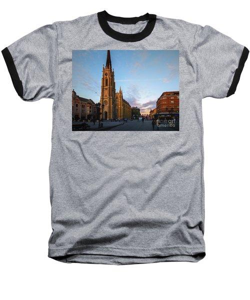 The Name Of Mary Church At Dusk Novi Sad Baseball T-Shirt by Jivko Nakev