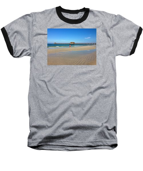 Baseball T-Shirt featuring the photograph The Naples Pier At Low Tide by Robb Stan