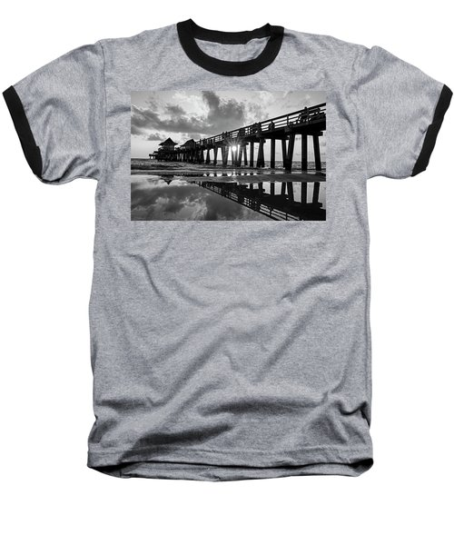 Naples Pier At Sunset Naples Florida Black And White Baseball T-Shirt