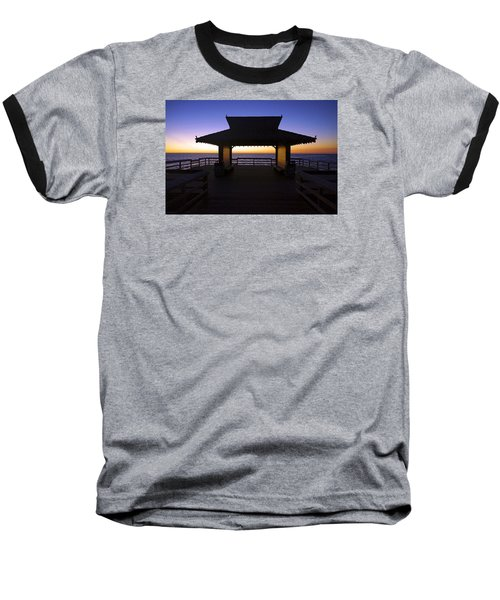 Baseball T-Shirt featuring the photograph The Naples Pier At Twilight - 02 by Robb Stan