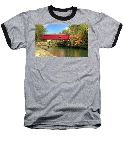 The Narrows Covered Bridge - Sideview Baseball T-Shirt by Harold Rau