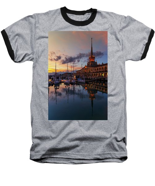 the nautical station and the yacht on the main sea channel of the Sochi seaport Baseball T-Shirt