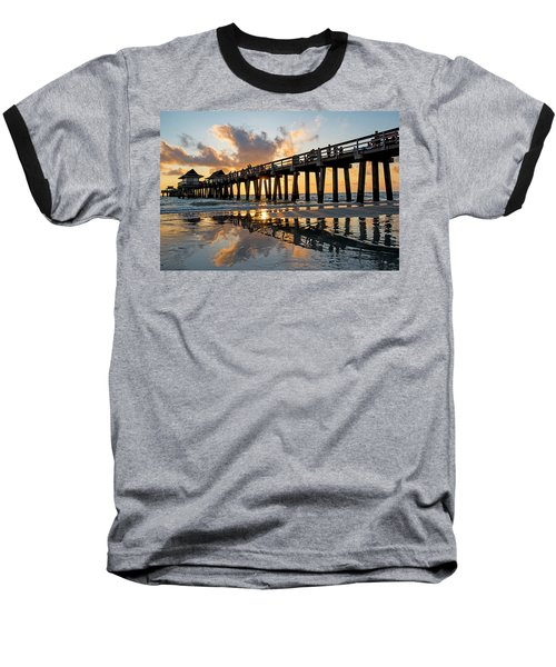 Naples Pier At Sunset Naples Florida Ripples Baseball T-Shirt