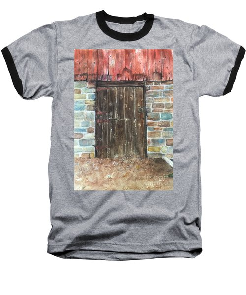 Baseball T-Shirt featuring the painting The Old Barn Door by Lucia Grilletto