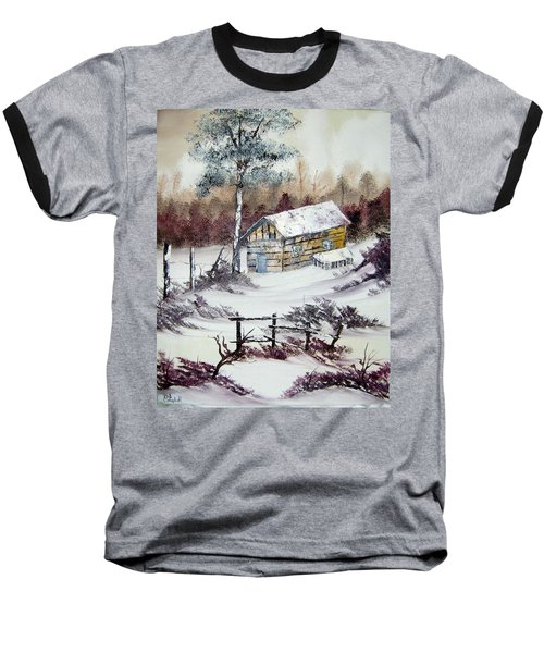 The Old Barn In Winter Baseball T-Shirt