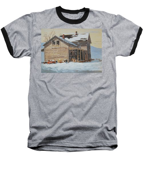 the Old Farm House Baseball T-Shirt by Len Stomski