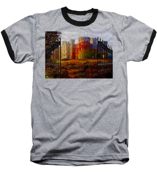 The Old Haunted Castle Baseball T-Shirt by Michael Rucker