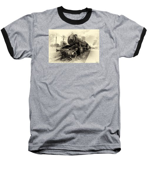 The Old Locomotive Baseball T-Shirt by Uri Baruch