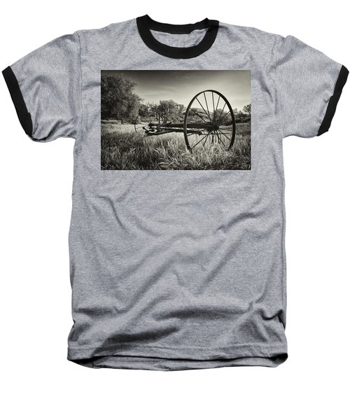 The Old Mower 2 In Black And White Baseball T-Shirt by Endre Balogh