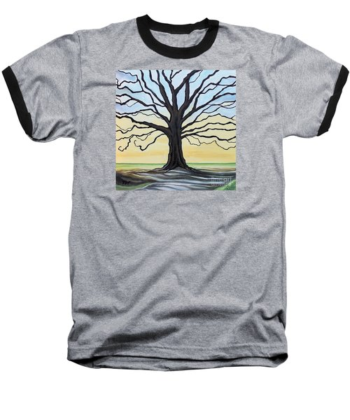 The Stained Old Oak Tree Baseball T-Shirt by Elizabeth Robinette Tyndall