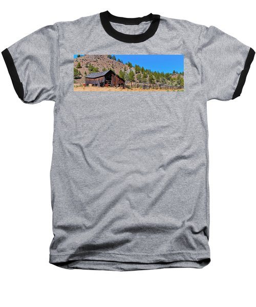 The Old Pine Creek Ranch Barn And Coral Baseball T-Shirt by Ansel Price