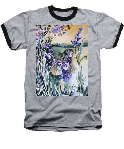 Baseball T-Shirt featuring the painting The Orchid Fairy by Mindy Newman