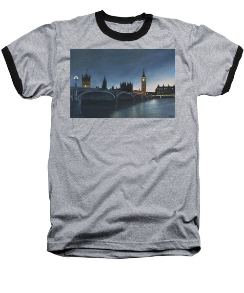 The Palace Of Westminster London Oil On Canvas Baseball T-Shirt