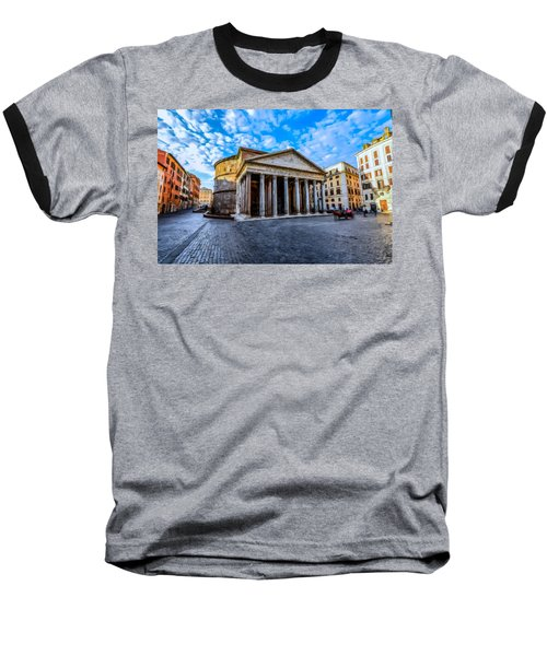 Baseball T-Shirt featuring the painting The Pantheon Rome by David Dehner