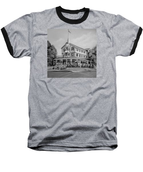 Baseball T-Shirt featuring the pastel The Parker House Black And White by Melinda Saminski