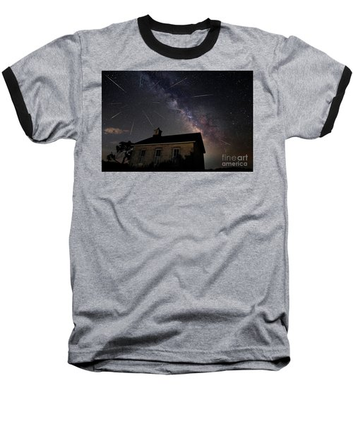 The Perseid Meteor Shower At Lower Fox Creek School  Baseball T-Shirt by Keith Kapple