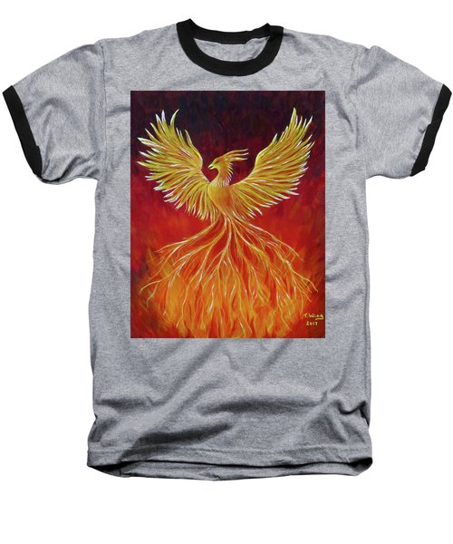 Baseball T-Shirt featuring the painting The Phoenix by Teresa Wing
