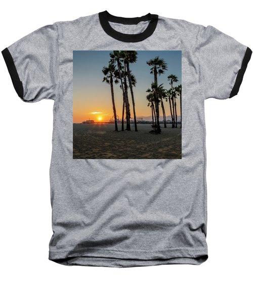 The Pier At Sunset - Square Baseball T-Shirt