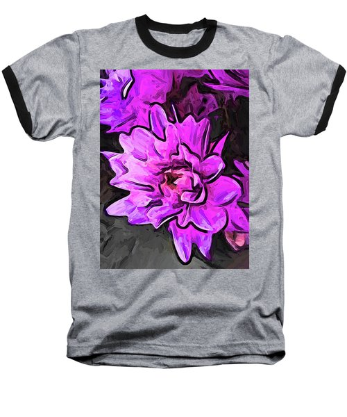 The Pink And Lavender Flowers On The Grey Surface Baseball T-Shirt