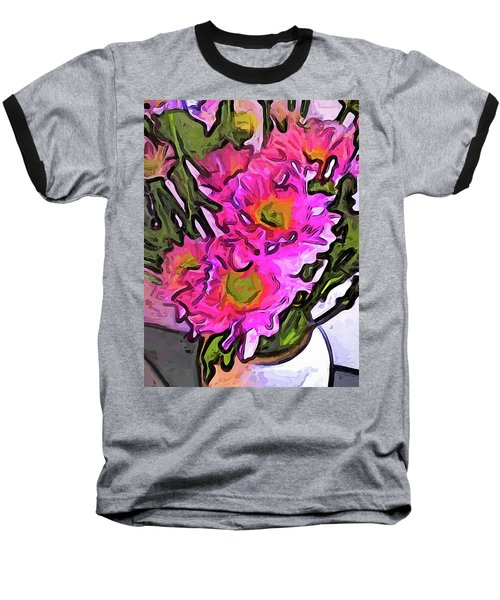 The Pink Flowers In The White Vase Baseball T-Shirt