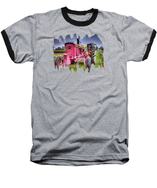 Baseball T-Shirt featuring the photograph The Pink Tractor At The Wooden Shoe Tulip Farm by Thom Zehrfeld