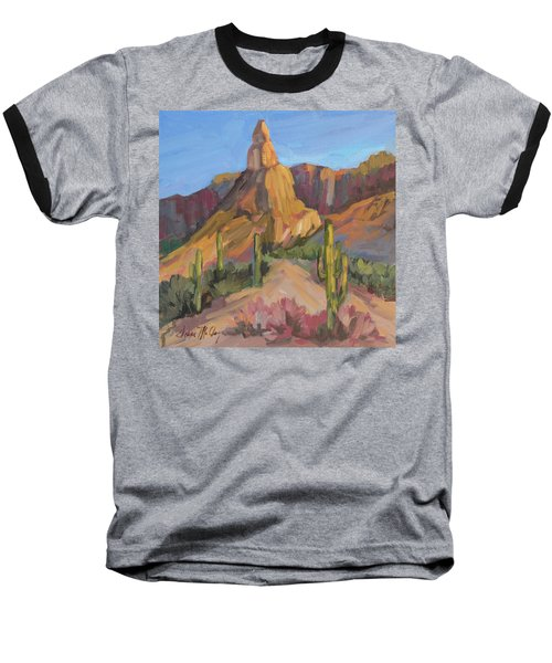 Baseball T-Shirt featuring the painting The Pinnacle At Goldfield Mountains by Diane McClary