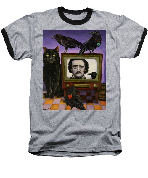 Baseball T-Shirt featuring the painting The Poe Show by Leah Saulnier The Painting Maniac