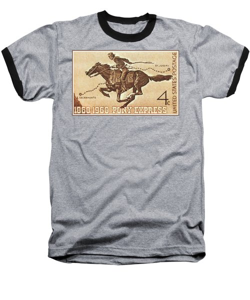 The Pony Express Centennial Stamp Baseball T-Shirt by Lanjee Chee