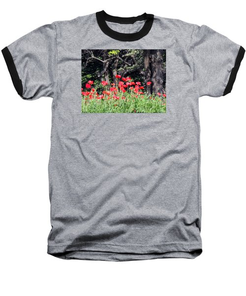 Baseball T-Shirt featuring the photograph The Poppy Garden by Teresa Schomig