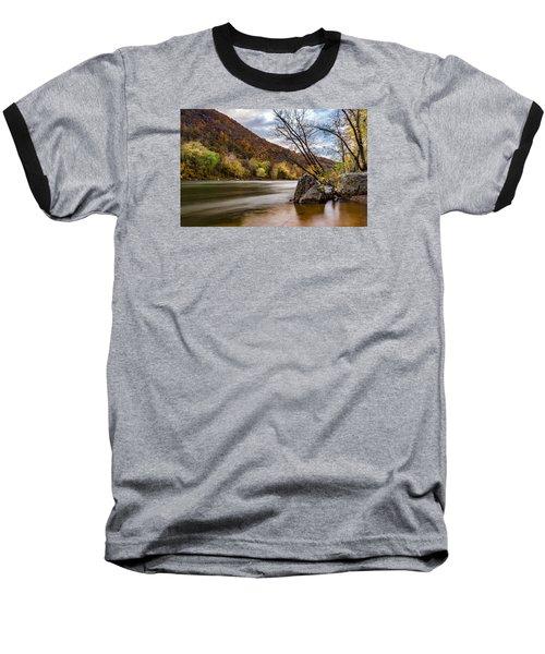 The Potomac In Autumn Baseball T-Shirt by Ed Clark