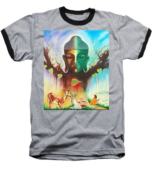 The Power Of Buddha Baseball T-Shirt by Ragunath Venkatraman