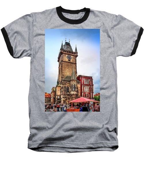 The Prague Clock Tower Baseball T-Shirt