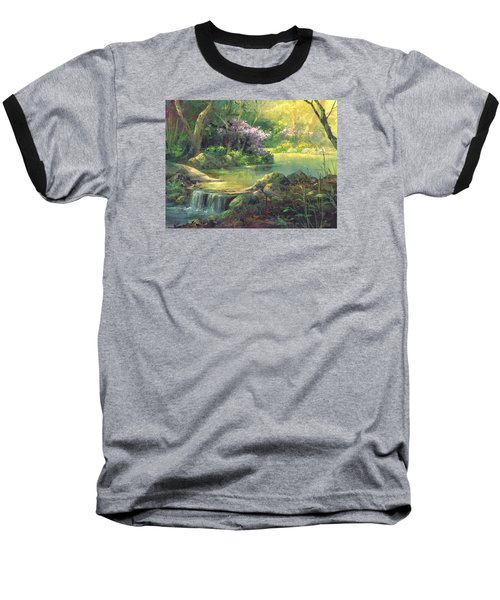 Baseball T-Shirt featuring the painting The Quiet Creek by Michael Humphries