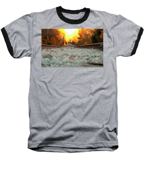 Baseball T-Shirt featuring the digital art The Railroad Tracks From A New Perspective by Chris Flees