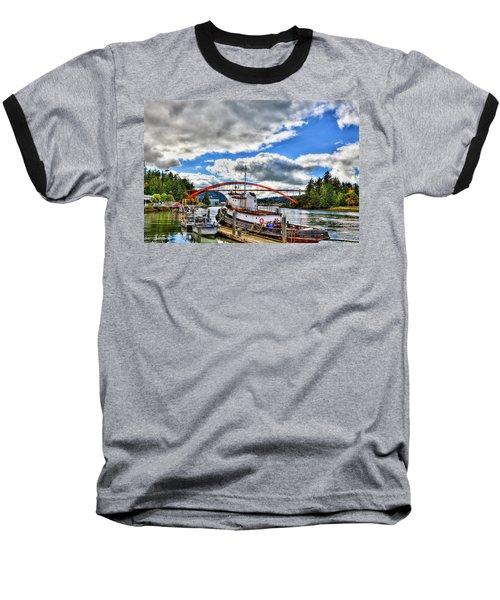 The Rainbow Bridge - Laconner Washington Baseball T-Shirt by David Patterson