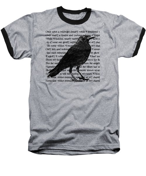 The Raven Poem Art Print Baseball T-Shirt