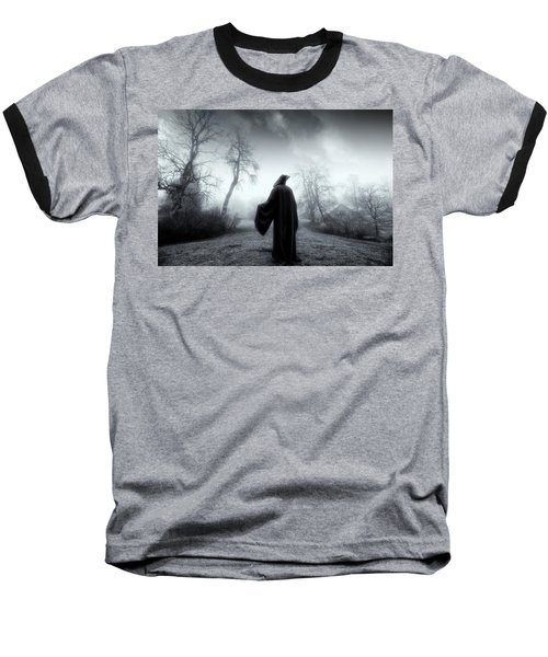 The Reaper Moving Through Mist And Fog Baseball T-Shirt by Christian Lagereek